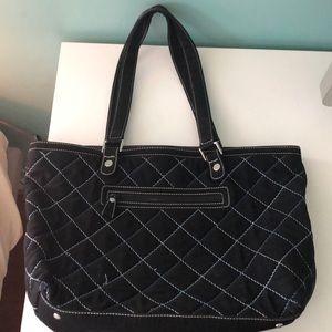 Black quilted Vera Bradley tote purse